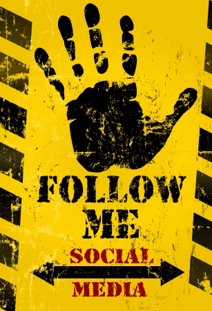 bookmarking: grungy  Follow Me  social media sign or button, industrial style