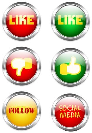 social media or network button set Stock Vector - 16443336
