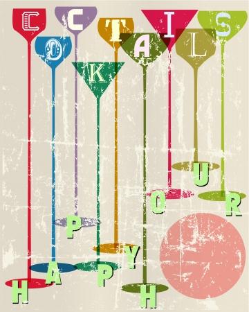 happy hour: Cocktail menu card design template,free copy space