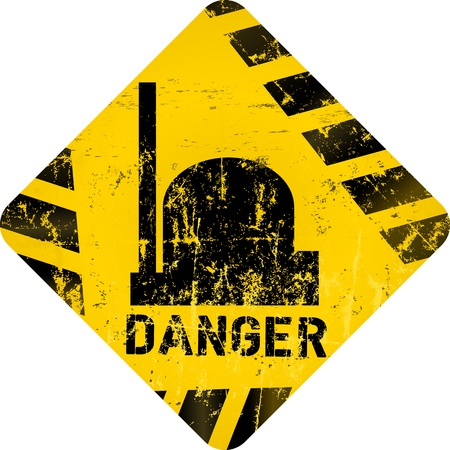 poison arrow: nuclear warning, grungy radiation sign