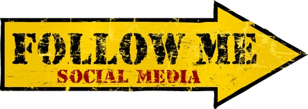 bookmarking: grungy Follow Me social network sign, arrow