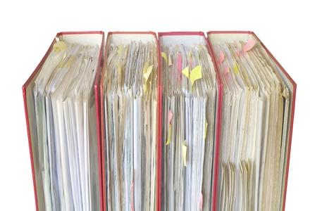 disorganization: file folders close up, selective focus, isolated