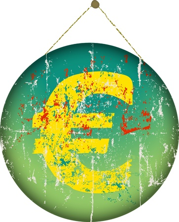 Grungy EURO currency symbol, hanging sign Stock Vector - 17042338
