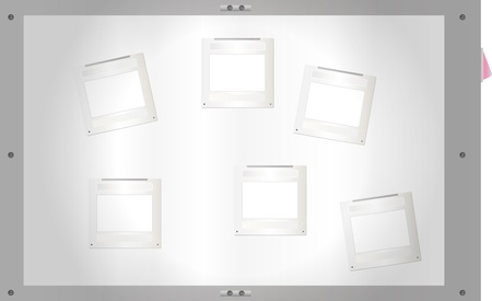 Slides on a light table, free space for pix,vector illustration