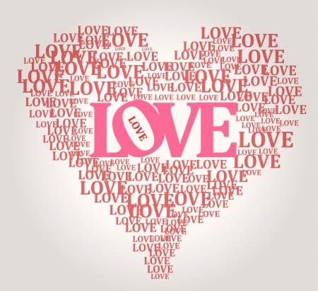 word love: Love and heart Illustration