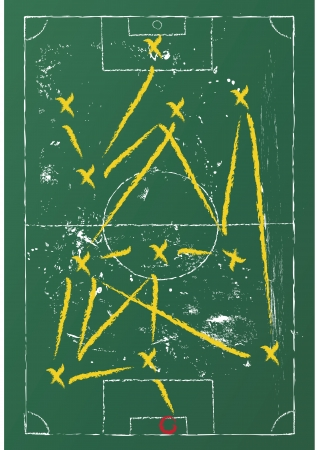 career coach: Soccer tactic diagram on a chalkboard