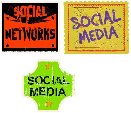 social media   networks sticker, vector illustration Stock Vector - 17130448