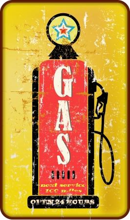 Vintage signe station d'essence, pompe à essence, illustration