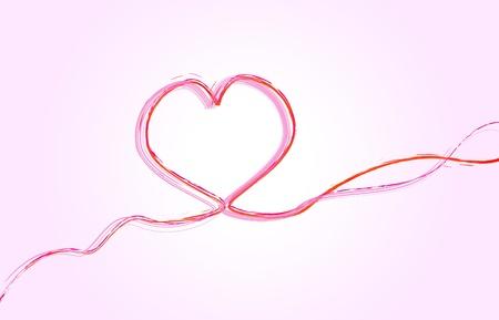 single line: heart shaped stroke, background
