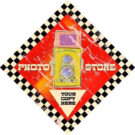vintage photo shop sign, vector illustration Vettoriali