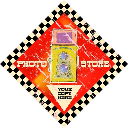 vintage photo shop sign, vector illustration Ilustração