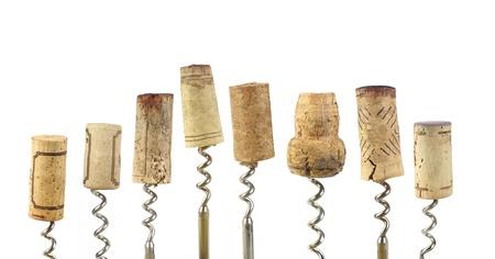 corcho: colecci�n de corchos de vino, aislado en fondo blanco Foto de archivo