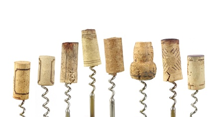 wine tasting: collection of wine corks, isolated on white background