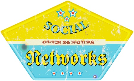 vintage social media enamel sign, grungy Stock Vector - 17229428