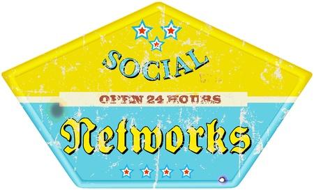 wikis: vintage social media enamel sign, grungy