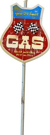 Vintage estación de gas y combustible signo, ilustración
