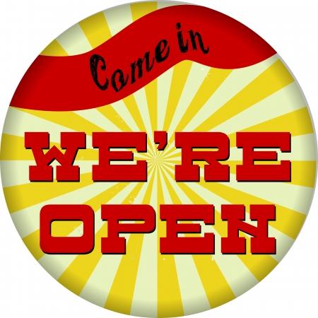vintage sign we re open Stock Vector - 17559620