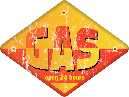 car ornament: vintage gas station sign,retro style Illustration