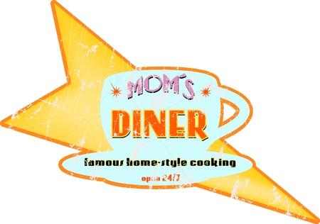 Vintage diner sign, illustration, free copy space