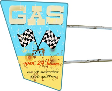 vintage gas station sign,weathered,  illustration Vector