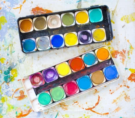paintbox: messy water-color paint-box  Stock Photo
