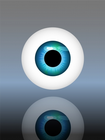 human eye, eyeball, vector illustration, glossy background Vector