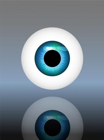 ?il humain, globe oculaire, illustration vectorielle, fond brillant