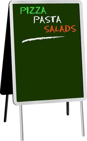 sandwich board: blank menu on sandwich board for italian food,free copy space