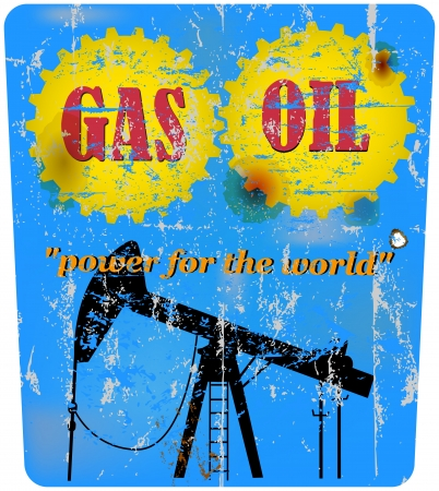 motor oil: vintage oil and gas advertising sign