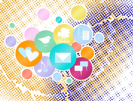 wikis: Social media and network concept,vector