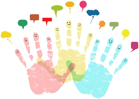 social networks and media concept, smiling hands Stock Vector - 18079181