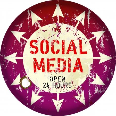 vintage social media sign or button, grungy, vector Stock Vector - 18128423