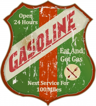 Vintage gas station and diner sign, vector illustration  Illustration