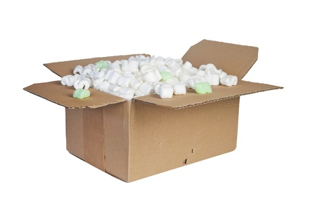 package with padding material, isolated Stock Photo - 18184092