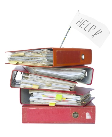 stack of office folders, overwork concept, isolated