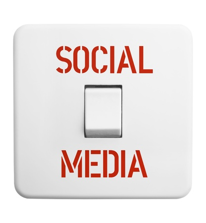 bookmarking: social media concept,vintage swtich, isolated