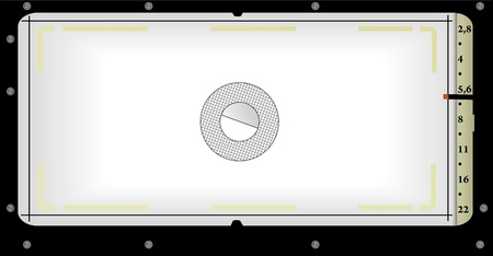 aperture grid: viewfinder view of a panorama camera, free space for Illustration