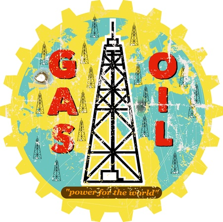 derrick: vintage oil and gas advertising sign