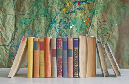 books arrangement,free copy space Stock Photo
