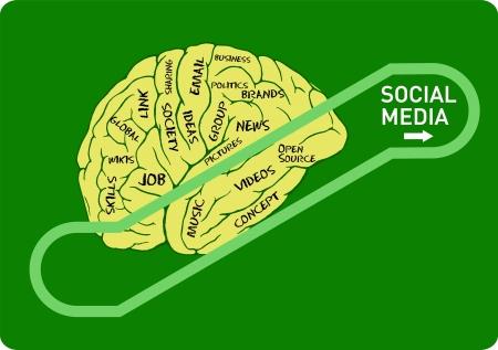 bookmarking: social media concept: human brain on an up escalator Illustration