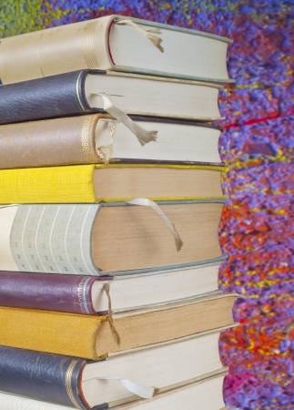 close uo: books with bookmarks,close uo, selective focus