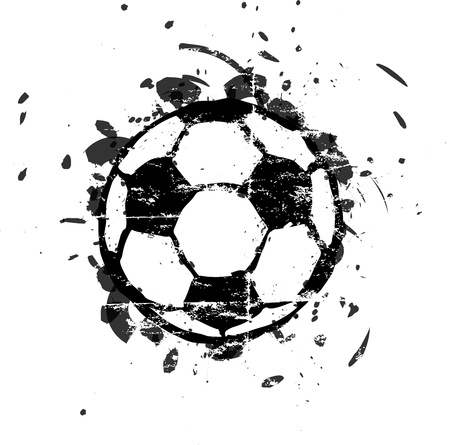 football silhouette: grungy soccer ball, isolated, vector illustration