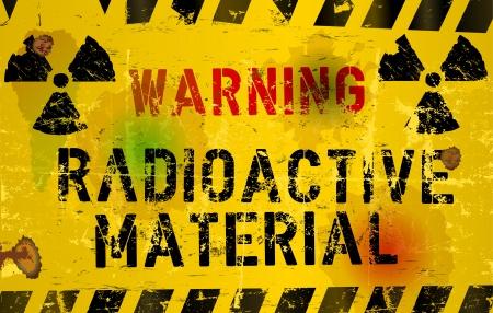 desechos toxicos: material nuclear o radiación del signo de advertencia, podrido y sucio, vector