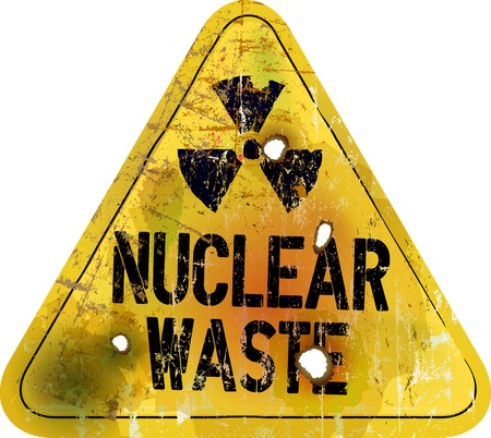 nuclear waste warning sign, rotten and grungy, vector photo