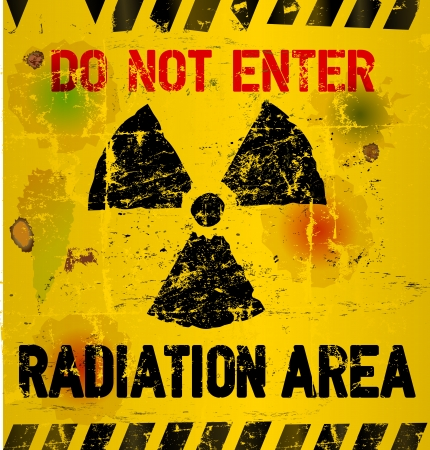caution chemistry: Radiation area warning,  illustration