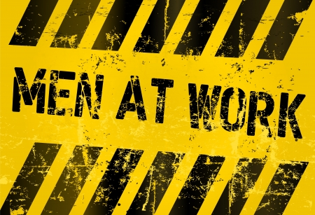 hazard tape: Men at work sign, illustration Stock Photo