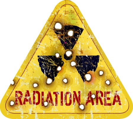 caution chemistry: Radiation area warning, vector illustration Stock Photo