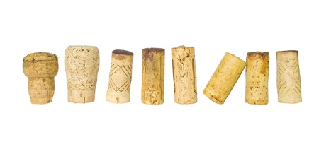 merlot: collection of wine corks, isolated on white background