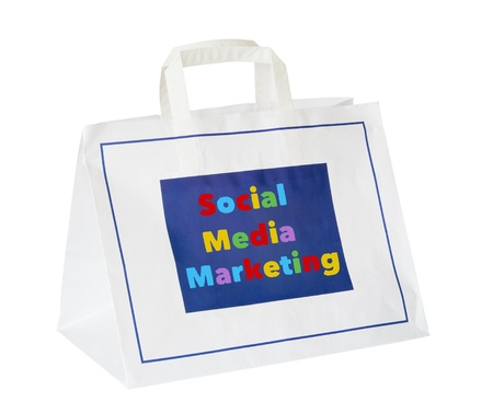 wikis: social media and network marketing concept ,shopping bag, isolated Stock Photo