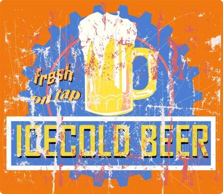 beer bar: vintage grungy beer sign or bar logo, vector illustration